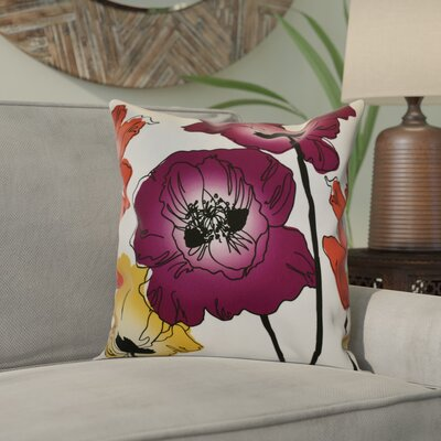 Echo Poppies Floral Throw Pillow Color: Purple, Size: 20 H x 20 W x 2 D