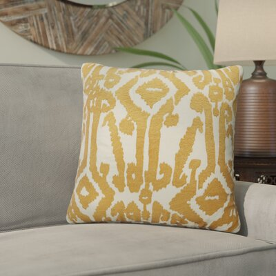 Purti Tribal Pattern Square Cotton Throw Pillow Color: Yellow / Ivory