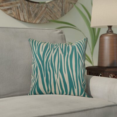Kam Wood Striped Geometric Throw Pillow Size: 16 H x 16 W x 2 D, Color: Jade
