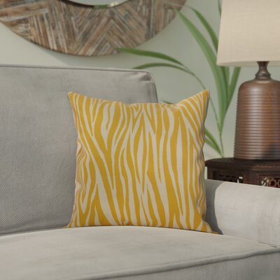 Kam Wood Striped Geometric Outdoor Throw Pillow Size: 16 H x 16 W x 2 D, Color: Gold