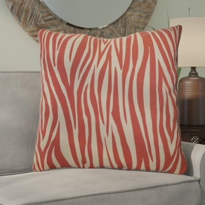 Echo Wood Striped Geometric Euro Pillow Color: Coral