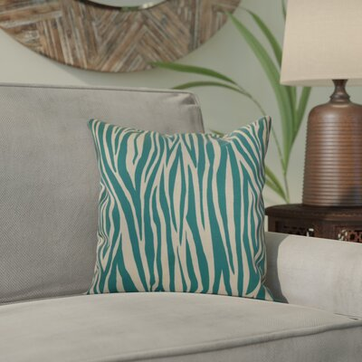 Kam Wood Striped Geometric Outdoor Throw Pillow Size: 16 H x 16 W x 2 D, Color: Jade