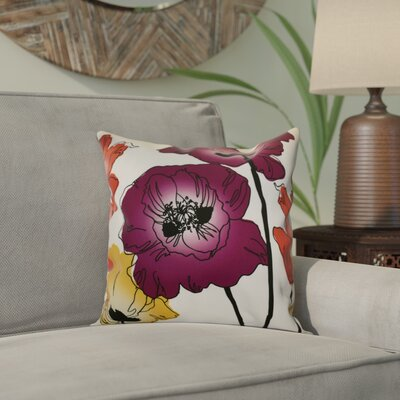 Poppies Floral Outdoor Throw Pillow Size: 18 H x 18 W x 2 D, Color: Purple