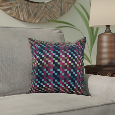 Liam Mad for Plaid Geometric Outdoor Throw Pillow Size: 18 H x 18 W x 2 D, Color: Purple