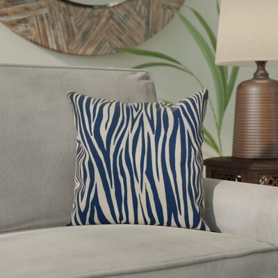 Kam Wood Striped Geometric Outdoor Throw Pillow Size: 16 H x 16 W x 2 D, Color: Navy Blue
