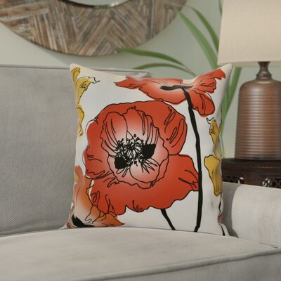 Echo Poppies Floral Throw Pillow Size: 18 H x 18 W x 2 D, Color: Red / Orange