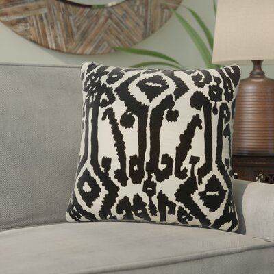 Purti Tribal Pattern Square Cotton Throw Pillow Color: Ivory / Black
