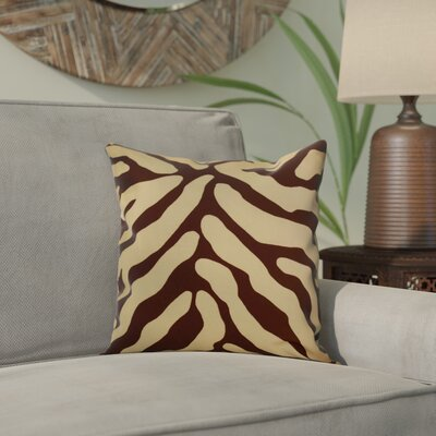 Kam Animal Striped Geometric Outdoor Throw Pillow Size: 16 H x 16 W x 2 D, Color: Brown
