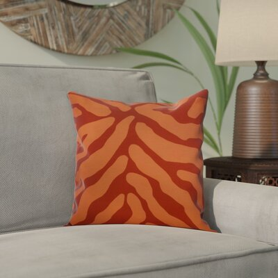 Kam Animal Striped Geometric Outdoor Throw Pillow Size: 20 H x 20 W x 2 D, Color: Orange