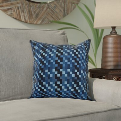Liam Mad for Plaid Geometric Throw Pillow Size: 16 H x 16 W x 2 D, Color: Blue