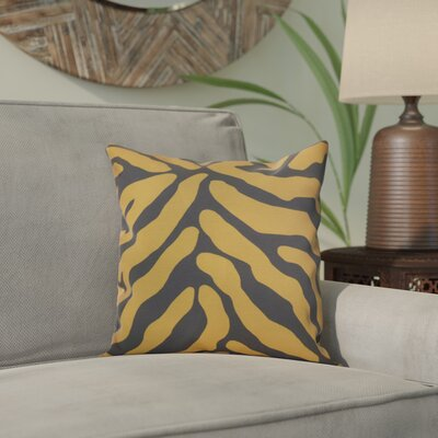 Kam Animal Striped Geometric Outdoor Throw Pillow Size: 16 H x 16 W x 2 D, Color: Gray