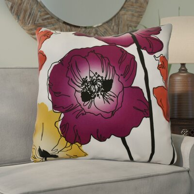 Poppies Floral Euro Pillow Color: Purple