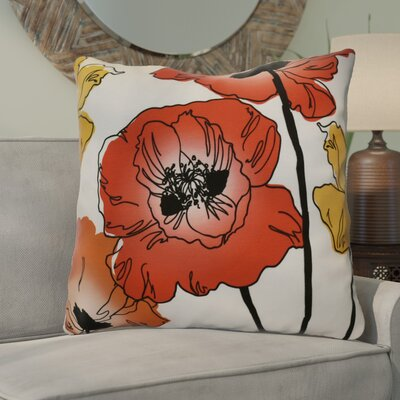 Poppies Floral Euro Pillow Color: Red / Orange