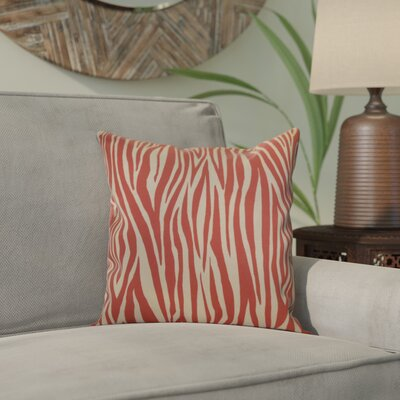 Kam Wood Striped Geometric Outdoor Throw Pillow Size: 16 H x 16 W x 2 D, Color: Coral