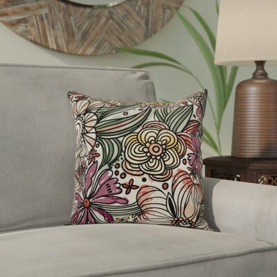 Natahsa Zentangle Floral Outdoor Throw Pillow Size: 16 H x 16 W x 2 D, Color: Purple