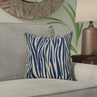 Kam Wood Striped Geometric Throw Pillow Size: 16 H x 16 W x 2 D, Color: Navy Blue