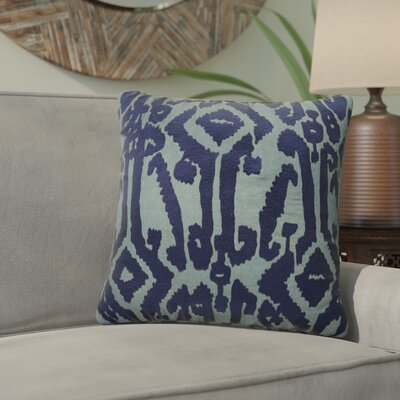 Purti Tribal Pattern Square Cotton Throw Pillow Color: Blue