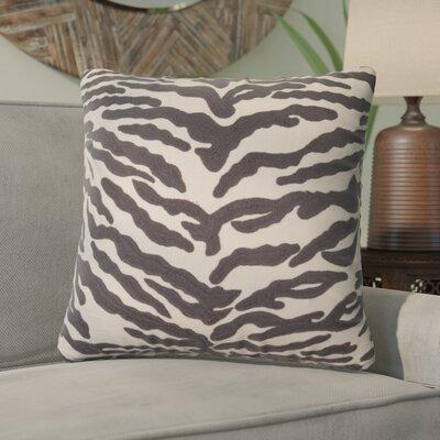Sophia Animal Print Cotton Throw Pillow Color: Dark Gray/Ivory