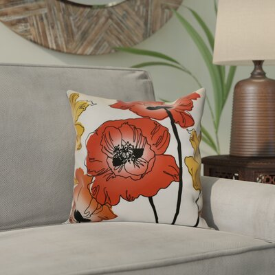 Echo Poppies Floral Outdoor Throw Pillow Color: Red / Orange, Size: 18 H x 18 W x 2 D