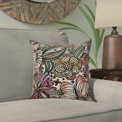 Echo Zentangle Floral Throw Pillow Color: Purple, Size: 18 H x 18 W x 2 D