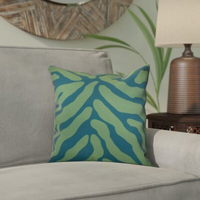 Kam Animal Striped Geometric Outdoor Throw Pillow Size: 18 H x 18 W x 2 D, Color: Teal