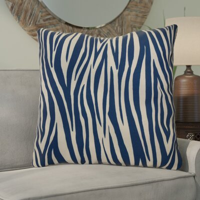 Kam Wood Striped Geometric Euro Pillow Color: Navy Blue