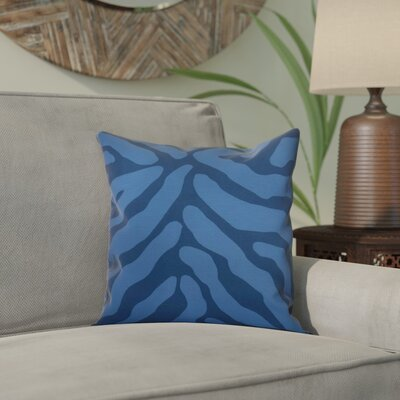 Kam Animal Striped Geometric Outdoor Throw Pillow Size: 16 H x 16 W x 2 D, Color: Navy Blue