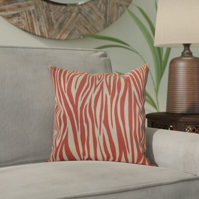 Kam Wood Striped Geometric Throw Pillow Size: 20 H x 20 W x 2 D, Color: Coral