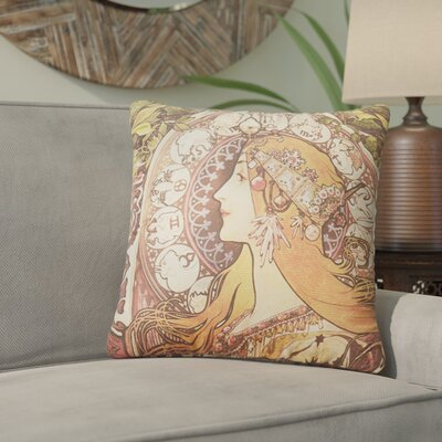 Junaid Santora Art Nouveau Zodiac Cotton Throw Pillow Color: Orange