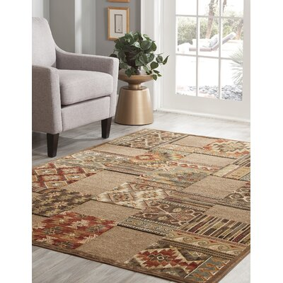 Boulters Brown/Ivory/Red/Chocolate Area Rug Rug Size: 7'10