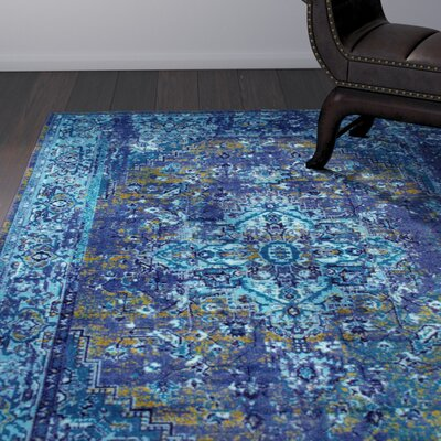 Tyrese Blue Area Rug Rug Size: Rectangle 9 x 12