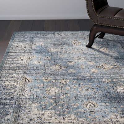 Quenby Blue/Ivory Area Rug Rug Size: Rectangle 53 x 76