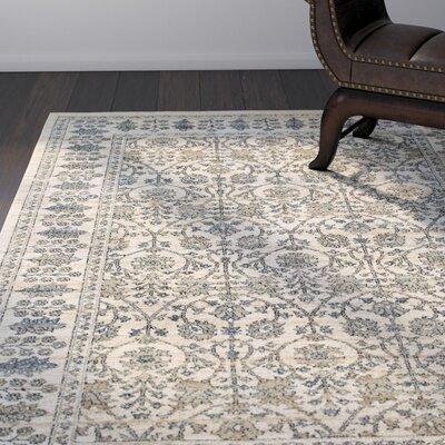 Quenby Traditional Ivory/Blue Area Rug Rug Size: Rectangle 53 x 76