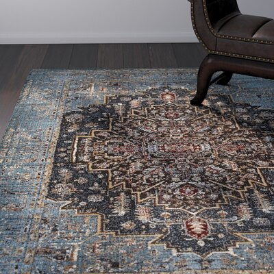 Quenby Blue/Navy Area Rug Rug Size: Rectangle 53 x 76