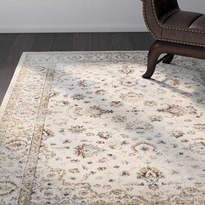 Quenby Traditional Ivory/Gold Area Rug Rug Size: Rectangle 53 x 76
