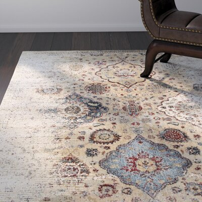 Quenby Ivory/Blue Area Rug Rug Size: Rectangle 53 x 76