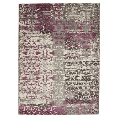Chane Flowers Ivory/Purple Area Rug Rug Size: 53 x 73