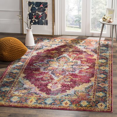 Mabel Ruby/Navy Area Rug Rug Size: 5 x 8