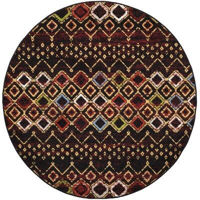 Vadim Black Area Rug Rug Size: Round 67