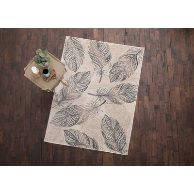 Orin Feather Cream Area Rug Rug Size: 53 x 73