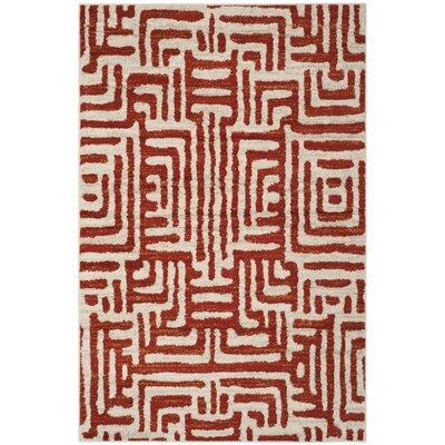 Vadim Ivory/Terracotta Area Rug Rug Size: Rectangle 4 x 6