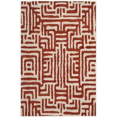 Vadim Ivory/Terracotta Area Rug Rug Size: 51 x 76