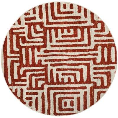 Vadim Ivory/Terracotta Area Rug Rug Size: Round 67