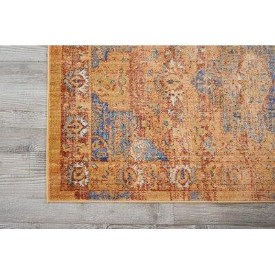 Devan Blue/Russet Indoor Area Rug Rug Size: 53 x 73