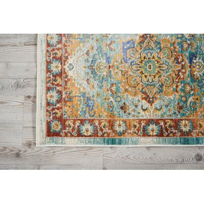 Devan Brown/Blue Indoor Area Rug Rug Size: 7'10