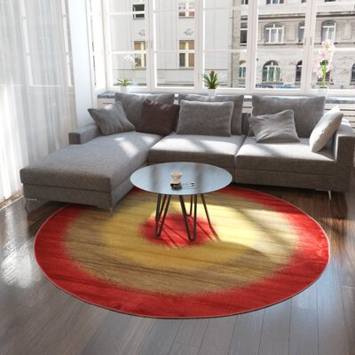 Jan Red Area Rug Rug Size: Round 8