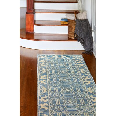 Cristhian Hand-Knotted Denim Area Rug Rug Size: Runner 26 x 8