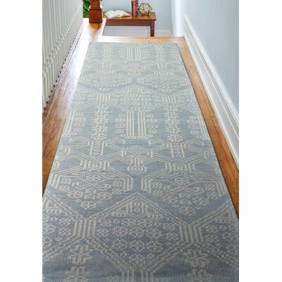Ferran Hand-Knotted Light Blue Area Rug Rug Size: Runner 26 x 8