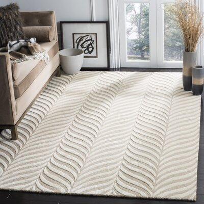 Netea Hand-Tufted Sand/Ivory Area Rug Rug Size: Rectangle 6 x 9