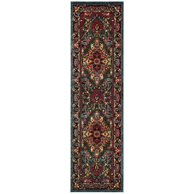 Antoine Light Blue/Fuchsia Area Rug Rug Size: Runner 23 x 8